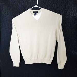 Brooks Brothers 100% Cotton V-Neck Sweater Size L